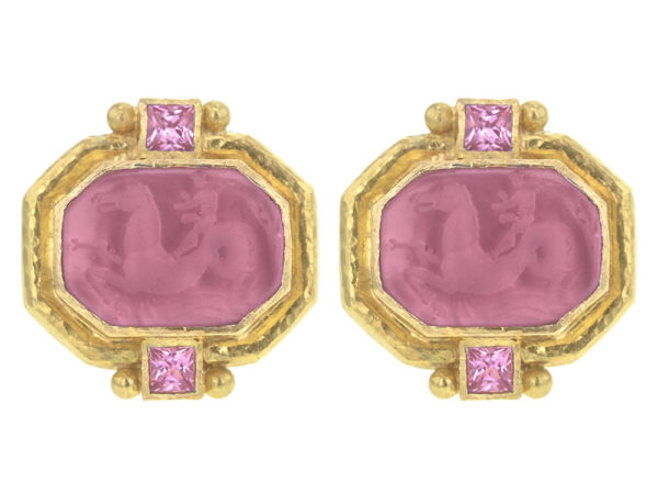 "Elizabeth Locke Pink Venetian Glass Intaglio ""Cherub with Seahorse"" Earrings With Faceted Square Pink Tourmalines thumbnail"