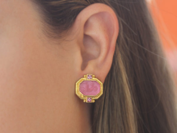"Elizabeth Locke Pink Venetian Glass Intaglio ""Cherub with Seahorse"" Earrings With Faceted Square Pink Tourmalines"