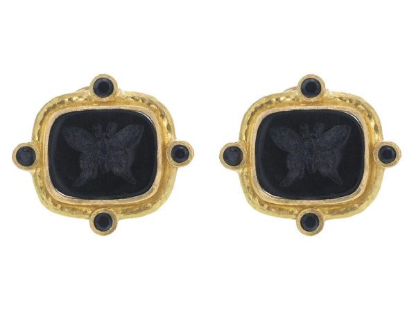 "Elizabeth Locke Black Venetian Glass Intaglio ""Butterfly"" And Faceted Black Spinel Earrings thumbnail"