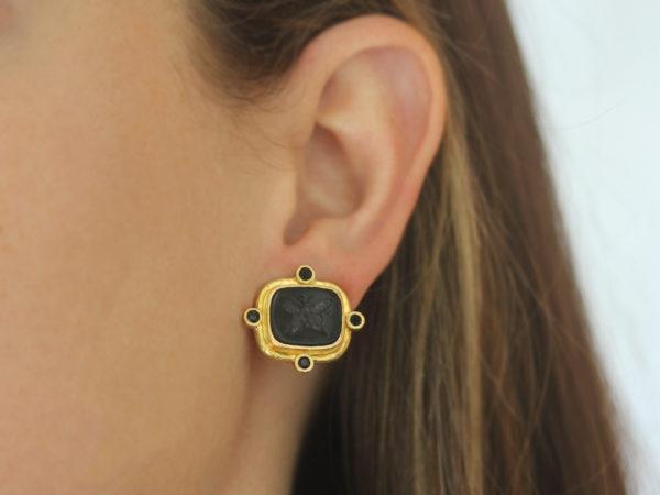 """Elizabeth Locke Black Venetian Glass Intaglio """"Butterfly"""" And Faceted Black Spinel Earrings"""