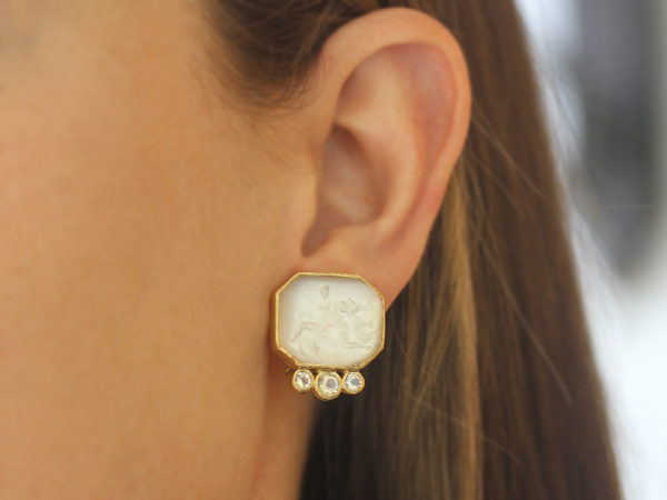 """Elizabeth Locke Crystal Venetian Glass Intaglio """"Hypocanthus and Goddess"""" Earrings With Bottom Faceted Moonstone"""