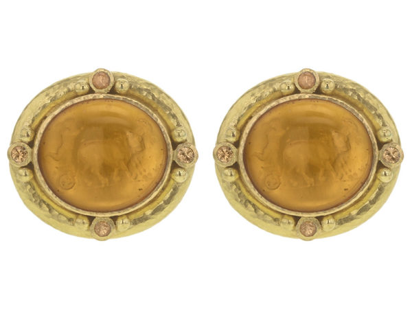 """Elizabeth Locke Light Amber Venetian Glass Intaglio """"Cab Goat, Lion and Putto"""" Earrings with Faceted Spessartite Garnet thumbnail"""