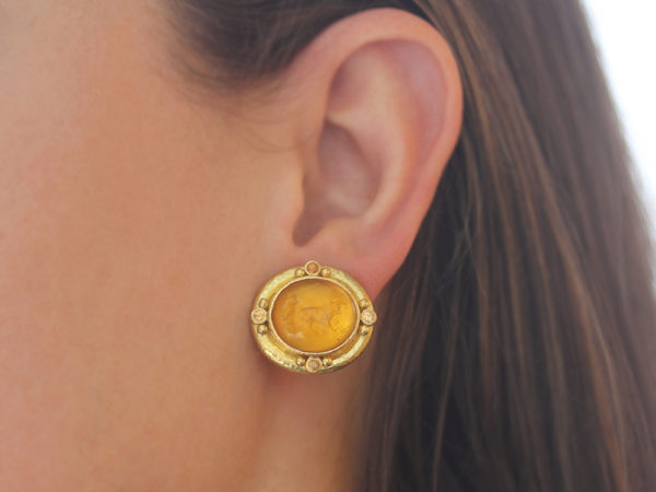 "Elizabeth Locke Light Amber Venetian Glass Intaglio ""Cab Goat, Lion and Putto"" Earrings with Faceted Spessartite Garnet"