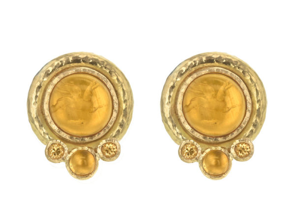 "Elizabeth Locke Light Amber Venetian Glass Intaglio ""Cabochon Tiny Griffin"" Earrings with Citrine thumbnail"