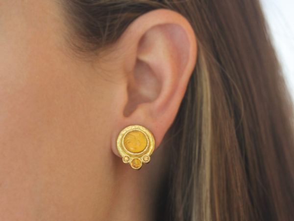 "Elizabeth Locke Light Amber Venetian Glass Intaglio ""Cabochon Tiny Griffin"" Earrings with Citrine model shot #1"