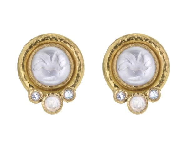 "Elizabeth Locke Crystal Venetian Glass Intaglio ""Cabochon Tiny Griffin"" Earrings with Moonstone thumbnail"