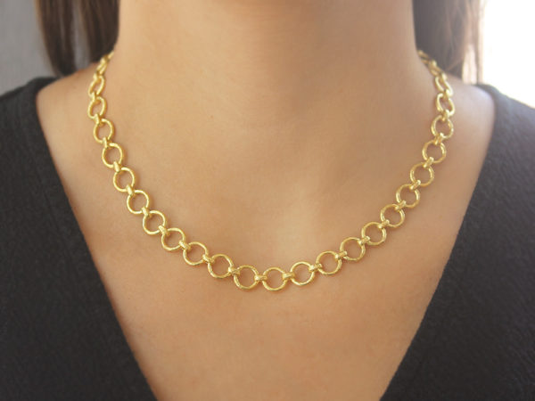 "Elizabeth Locke 17"" ""Farnese"" Hammered Link Necklace"