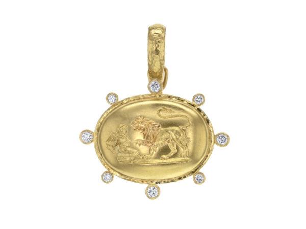 "Elizabeth Locke Gold ""Eros and Lion"" Pendant with Diamonds thumbnail"