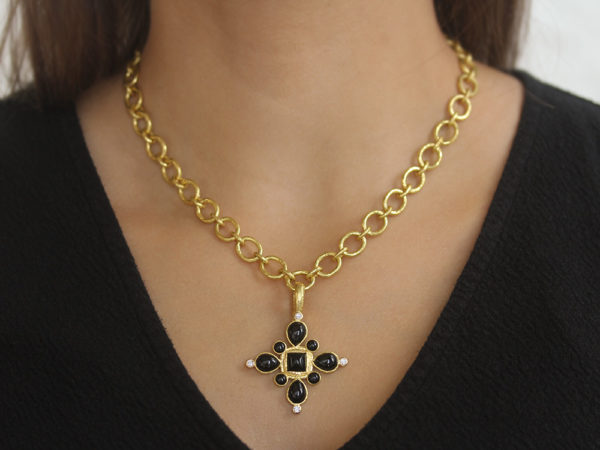 "Elizabeth Locke Onyx and Diamond ""Sienese"" Cross Pendant"