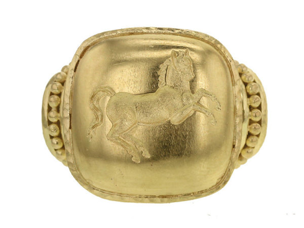 "Elizabeth Locke Gold Cushion ""Rearing Horse"" Ring thumbnail"