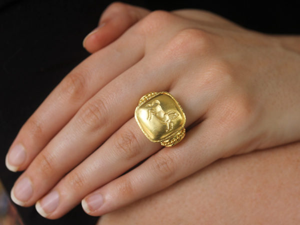 "Elizabeth Locke Gold Cushion ""Rearing Horse"" Ring"