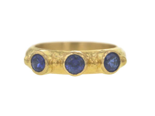 Elizabeth Locke Round Faceted Blue Sapphire Stack Ring with Gold Dots thumbnail