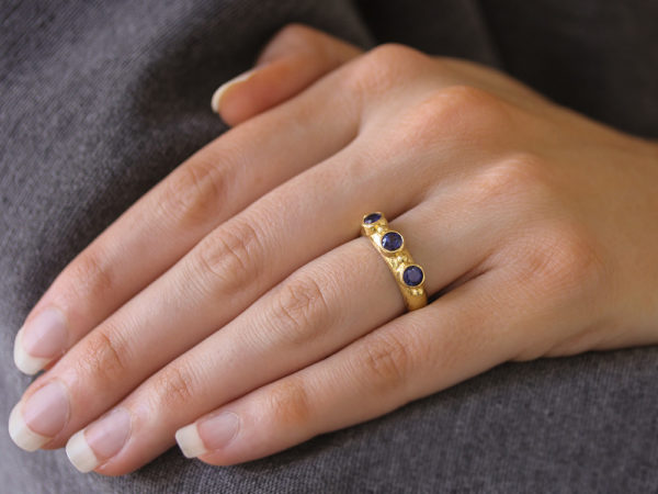 Elizabeth Locke Round Faceted Blue Sapphire Stack Ring with Gold Dots model shot #1
