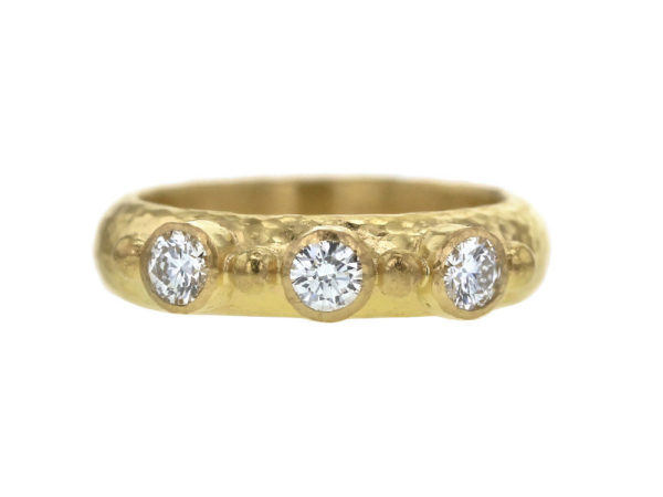 Elizabeth Locke Round Diamond Stack Ring with Gold Dots thumbnail