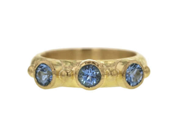 Elizabeth Locke Round Faceted Aquamarine Stack Ring with Gold Dots thumbnail