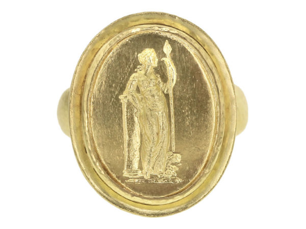"Elizabeth Locke Gold Oval ""Athena"" with ""Athenian"" Bezel Ring thumbnail"