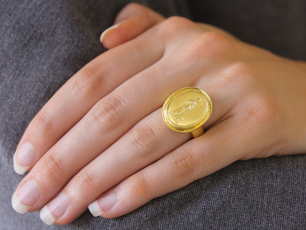 "Elizabeth Locke Gold Oval ""Athena"" with ""Athenian"" Bezel Ring"