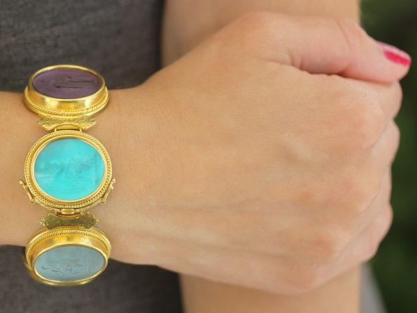 """Elizabeth Locke Venetian Glass Intaglio """"Pastel"""" Colored Pastel Large Oval Venetian Glass Bracelet model shot #2"""