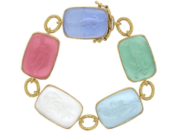"Elizabeth Locke Pastel Venetian Glass Intaglio ""Must"" Bracelet with Small Oval Link Connectors and Box Clasp thumbnail"