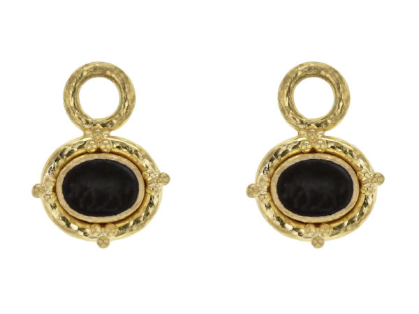 "Elizabeth Locke Black Venetian Glass Intaglio ""Micro Horse"" Earring Charms for Hoops With Gold Triads thumbnail"