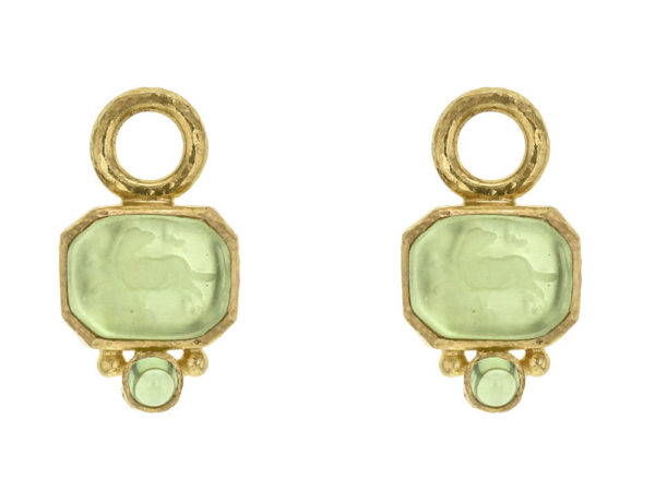 "Elizabeth Locke Lime Aqua Venetian Glass Intaglio ""Chimera"" Earring Charms for Hoops with Bottom Cabochon Peridot thumbnail"