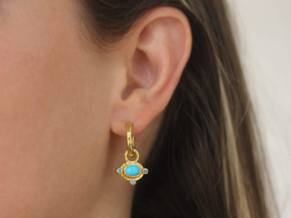 Elizabeth Locke Horizontal Oval Cabochon Turquoise Earring Charms for Hoops with Faceted Zircons