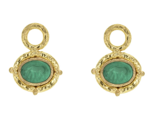 """Elizabeth Locke Green Venetian Glass Intaglio """"Micro Horse"""" Earring Charms for Hoops With Gold Triads thumbnail"""