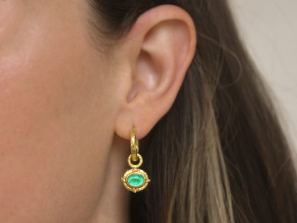"""Elizabeth Locke Green Venetian Glass Intaglio """"Micro Horse"""" Earring Charms for Hoops With Gold Triads"""