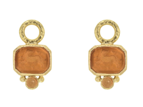 "Elizabeth Locke Amber Venetian Glass Intaglio ""Chimera"" Earring Charms for Hoops with Bottom Cabochon Citrine thumbnail"