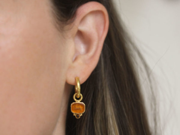"Elizabeth Locke Amber Venetian Glass Intaglio ""Chimera"" Earring Charms for Hoops with Bottom Cabochon Citrine"
