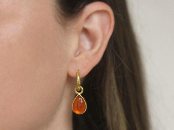 """Elizabeth Locke Amber Venetian Glass Intaglio """"Small Pear Shape"""" Earring Charms For Hoops"""