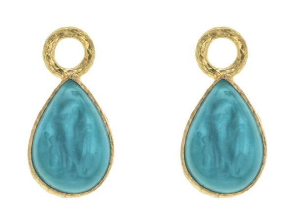 "Elizabeth Locke Teal Venetian Glass Intaglio ""Small Pear Shape"" Earring Charms For Hoops thumbnail"