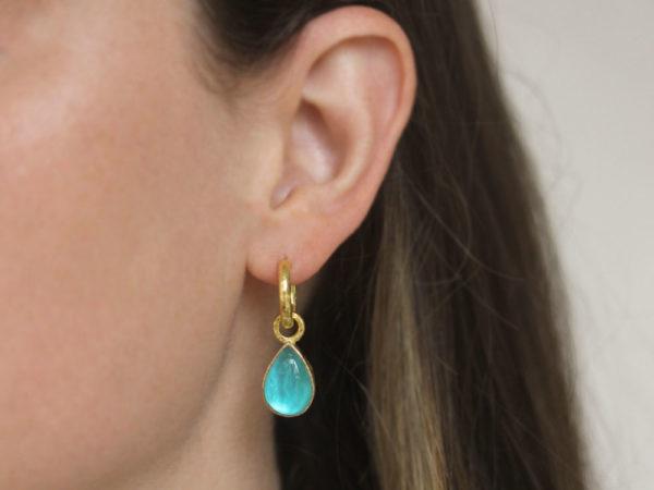 """Elizabeth Locke Teal Venetian Glass Intaglio """"Small Pear Shape"""" Earring Charms For Hoops"""