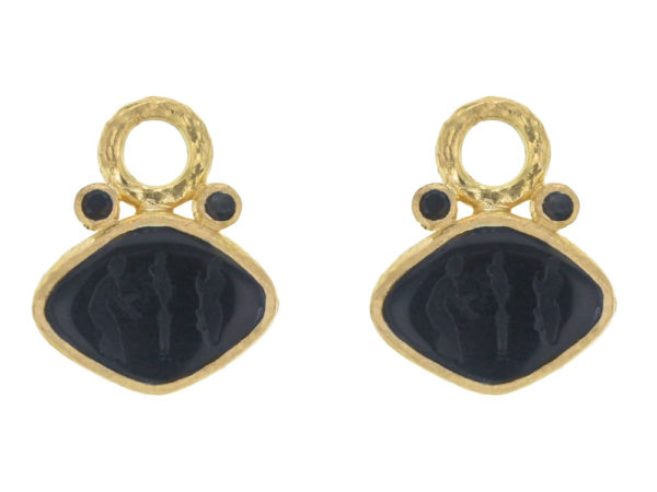 "Elizabeth Locke Black Venetian Glass Intaglio ""Rombo"" and Faceted Black Spinel Earring Charms for Hoops thumbnail"