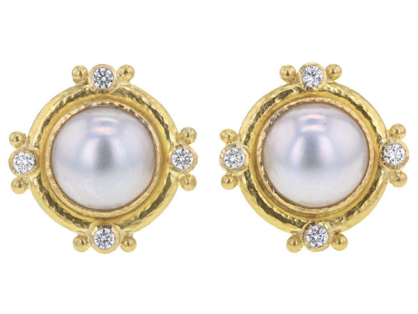 Elizabeth Locke Mabe Pearl and Diamond Earrings thumbnail