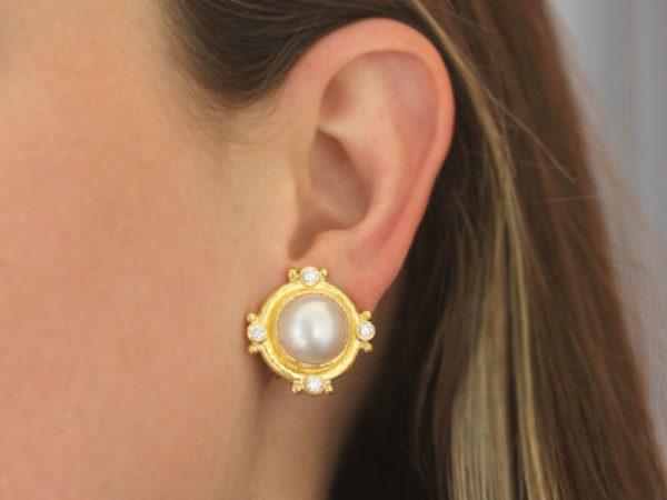 Elizabeth Locke Mabe Pearl and Diamond Earrings