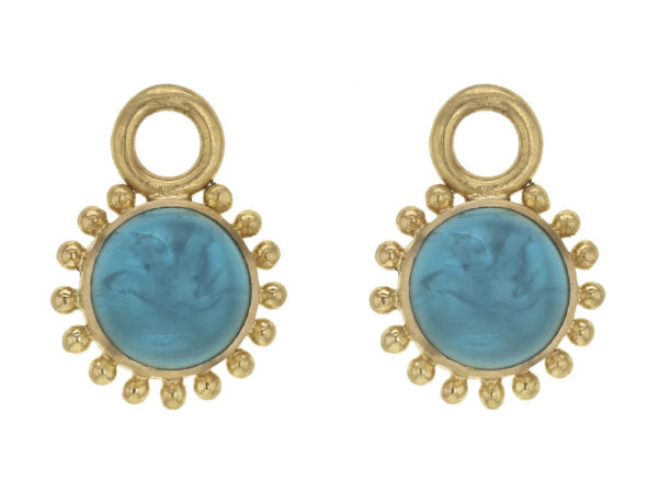 "Elizabeth Locke Teal Venetian Glass Intaglio Cabochon ""Tiny Griffin"" Earring Charms With Granulation thumbnail"