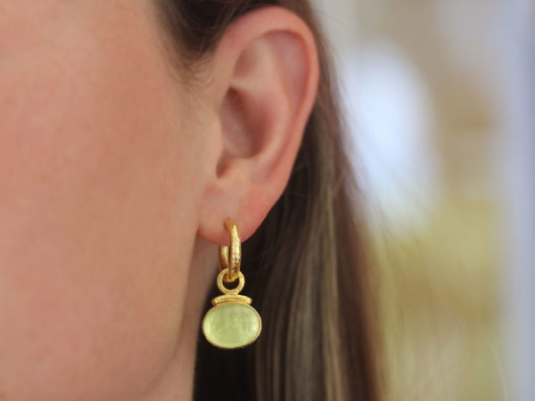 """Elizabeth Locke Lime Venetian Glass Intaglio """"Cab Equestrian"""" with Topknot Earring Charms for Hoops"""