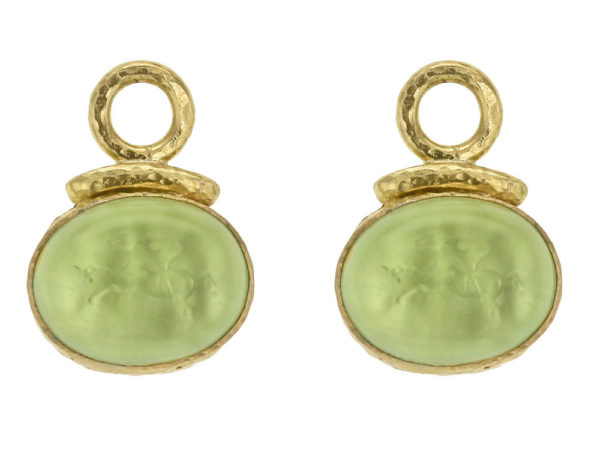 "Elizabeth Locke Lime Venetian Glass Intaglio ""Cab Equestrian"" with Topknot Earring Charms for Hoops thumbnail"