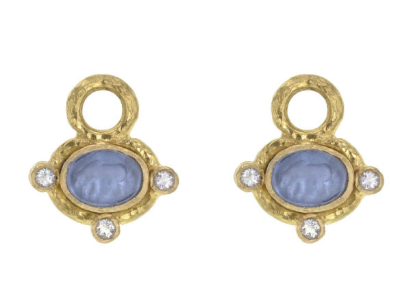 "Elizabeth Locke Cerulean Venetian Glass Intaglio ""Micro Horse"" Earring Charms for Hoops with Faceted Moonstones thumbnail"