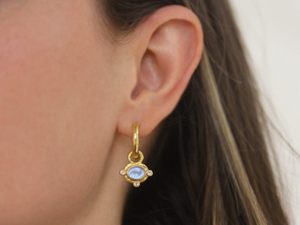 "Elizabeth Locke Cerulean Venetian Glass Intaglio ""Micro Horse"" Earring Charms for Hoops with Faceted Moonstones"