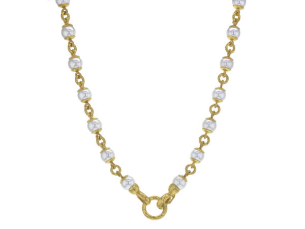 "Elizabeth Locke 17"" 8-8.5mm Akoya Pearl And Gold Link Necklace With Circle Clasp Necklace thumbnail"