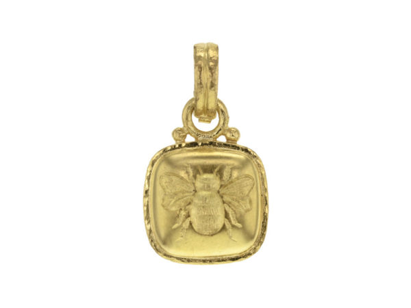 "Elizabeth Locke Gold Cushion ""Fat Bee"" Pendant With Stationary ""O"" Ring and Hinged, Banded Bale thumbnail"