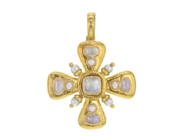 "Elizabeth Locke Moonstone ""Maltese"" Cross Pendant with Pearls thumbnail"