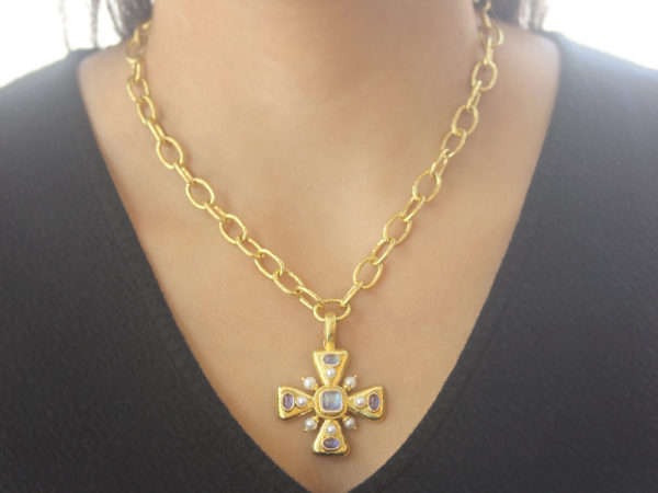 "Elizabeth Locke Moonstone ""Maltese"" Cross Pendant with Pearls"