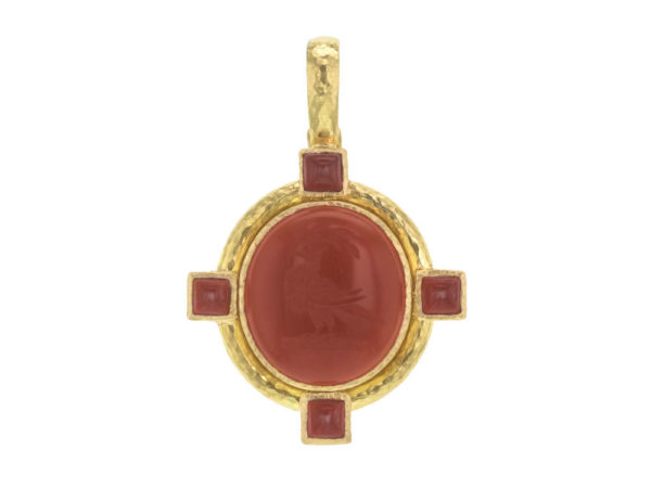 "Elizabeth Locke Vertical Oval Carnelian ""Bird"" Seal Pendant With Oval Carnelians Set on Godron Bezel and Thin Hinged Bale thumbnail"