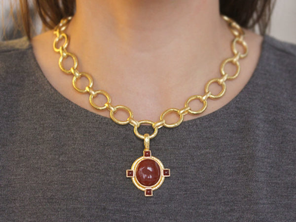 "Elizabeth Locke Vertical Oval Carnelian ""Bird"" Seal Pendant With Oval Carnelians Set on Godron Bezel and Thin Hinged Bale"