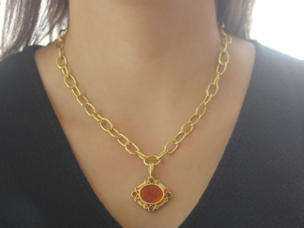 """Elizabeth Locke Amber Venetian Glass Intaglio """"St. George"""" Pendant With Faceted Citrine Triads and Cabochon Citrines"""