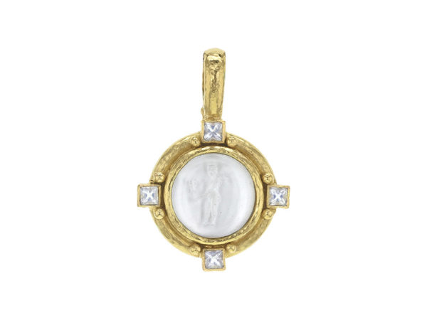 """Elizabeth Locke Crystal Venetian Glass Intaglio """"Putto with Butterfly"""" Pendant with Square Faceted Moonstones thumbnail"""