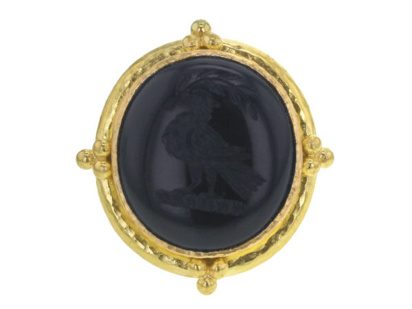 "Elizabeth Locke Vertical Oval Onyx Seal ""Bird"" Ring with Gold Triads on Thin Shank thumbnail"